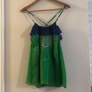 Free People 100% silk embellished top